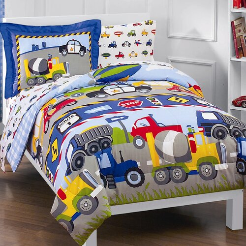 Dream Factory Trains and Trucks 5 Piece Twin Bed Set