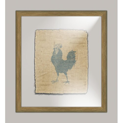 Rooster on Linen II Framed Art in Navy