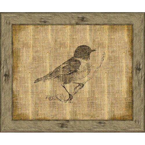 Bird On Antique Linen II Framed Art