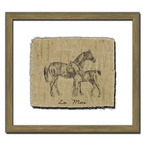 Horse on Linen I Framed Graphic Art