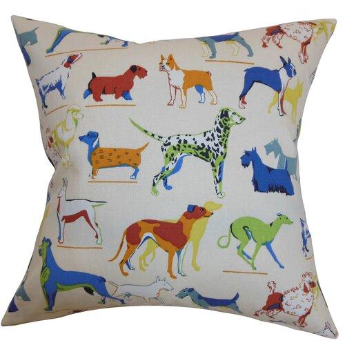 The Pillow Collection Wonan Dogs Print Cotton Pillow