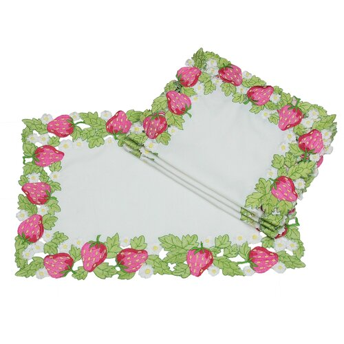 Strawberry Patch Embroidered Cutwork Placemat (Set of 4)