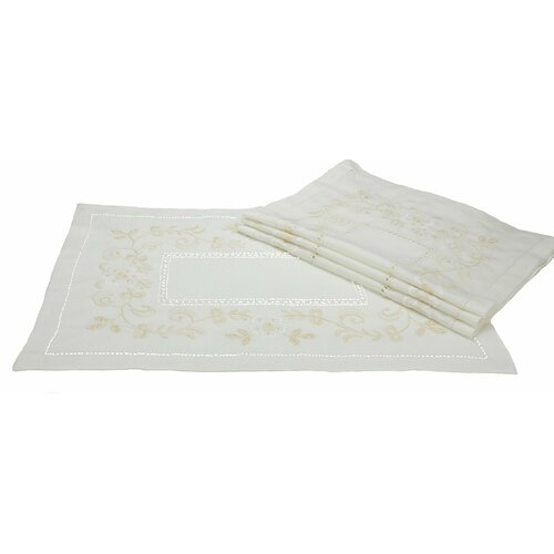 Belle Garden Floral Embroidered with Hemstitch Placemat (Set of 4)
