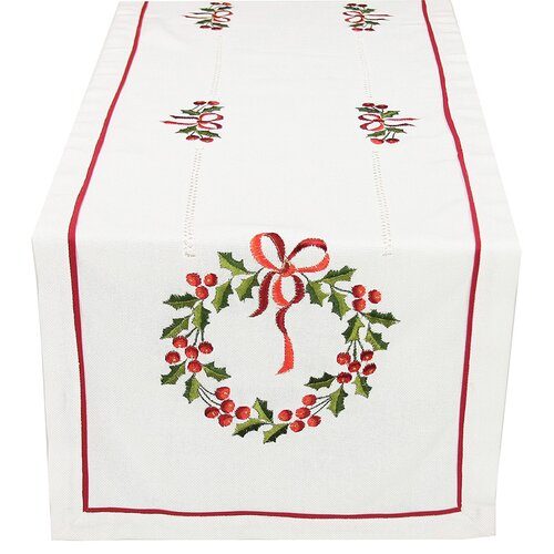 Country Wreath Embroidered Hemstitch Holiday Table Runner