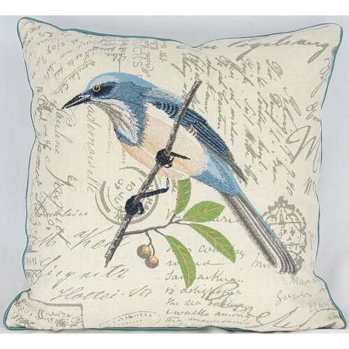 Manor Luxe Avian Blue Bird Cotton Pillow
