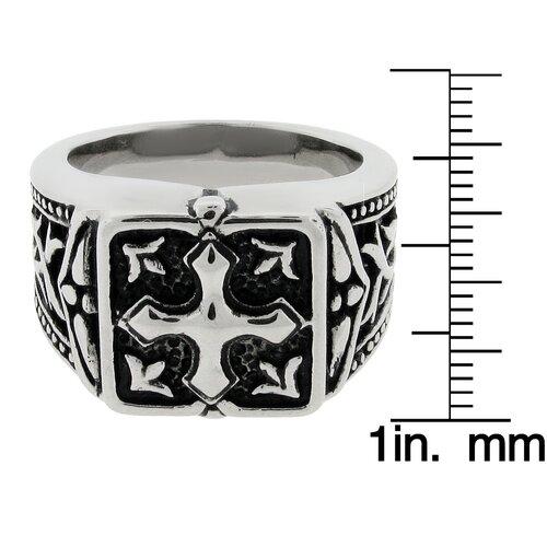 GoldnRox Men's Stainless Steel Cross Ring
