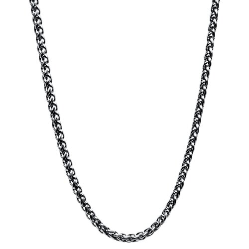 Stainless Steel Antique Round Wheat Chain Necklace