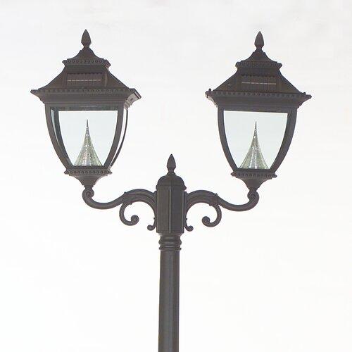 GamaSonic Pagoda Solar Lamp Post and Two Eight-LED Lanterns