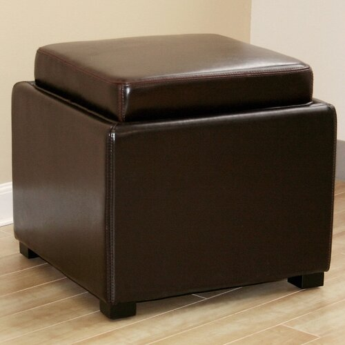 Wholesale Interiors Orsino Leather Cube Ottoman