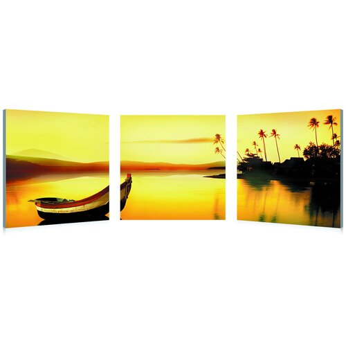 Baxton Studio Golden Sunset Mounted 3 Piece Photographic Print on Canvas Set