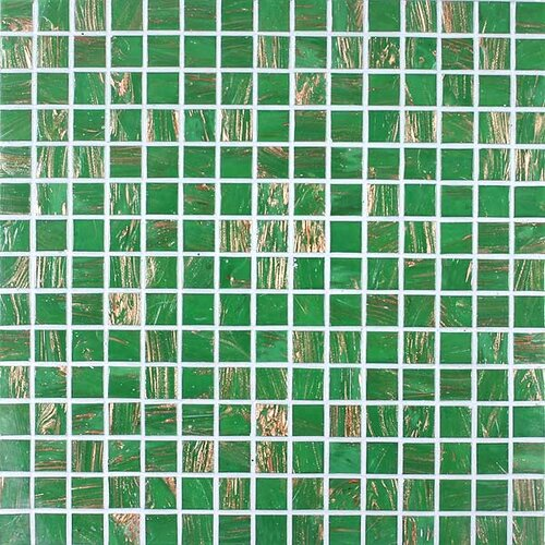 Gold Leaf Glass Tile in Classic Green