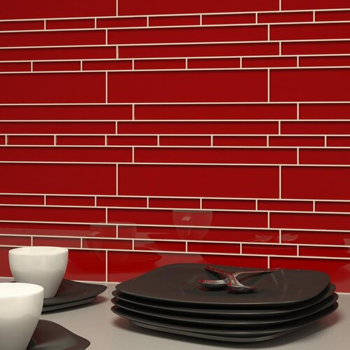 Club Random Sized Cristezza Glass Tile in Ruby Red