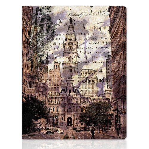 """Oliver Gal """"Philadelphia Town Hall"""" Graphic Art on Canvas"""