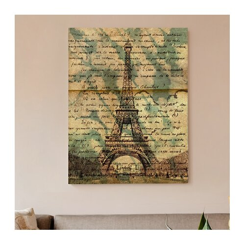 """Oliver Gal """"Eiffel Words"""" Graphic Art on Canvas"""