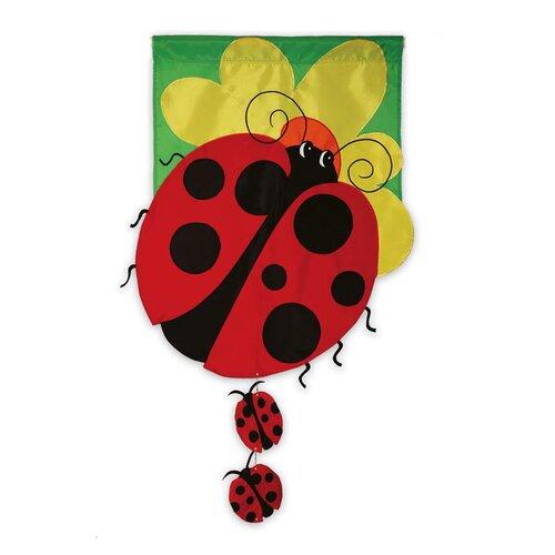 3D Lady Bug Family 2-Sided Garden Flag