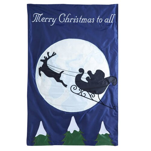 Evergreen Flag & Garden Santa's Sleigh Ride Applique Garden Flag