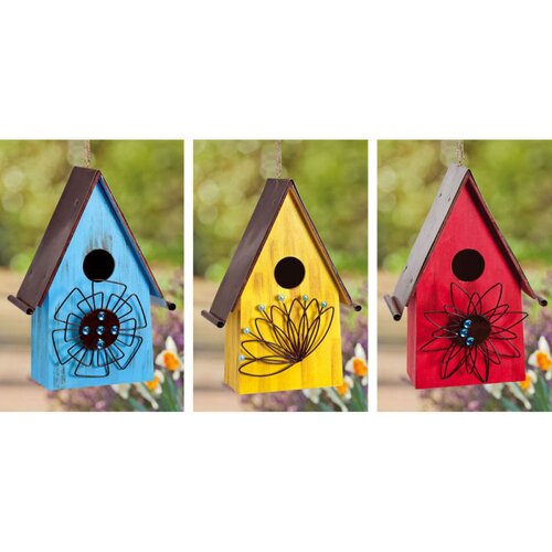 Evergreen Flag & Garden Jeweled Flowers Bright Hanging Birdhouse