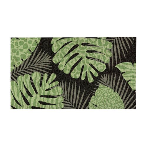 Evergreen Flag & Garden Patterned Palm Leaves Doormat