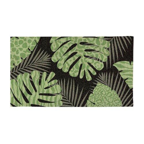 Evergreen Flag & Garden Patterned Palm Leaves Doormat