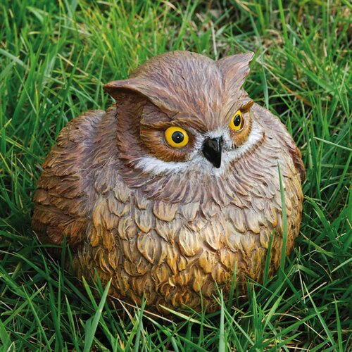Evergreen Flag & Garden Owl Portly Statue