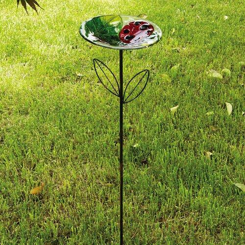 Evergreen Flag & Garden Delightful Ladybug Garden Stake Decorative Platform/Tray Bird Feeder