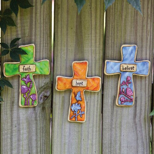 Silhouettes Faith Hope Believe Crosses Wall Decor (Set of 3)