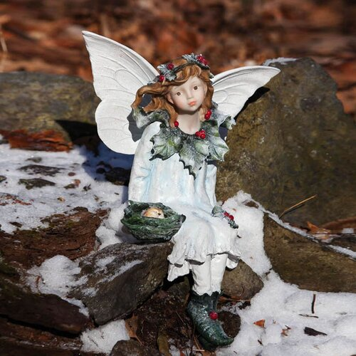 New Creative Snow and Ice Holly Berry Forest Fairy Seated Fairy Statue
