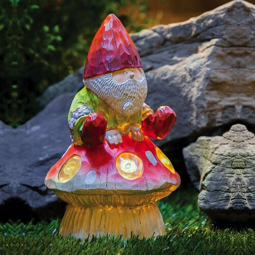 Forest Light Gnome And Mushroom Statue