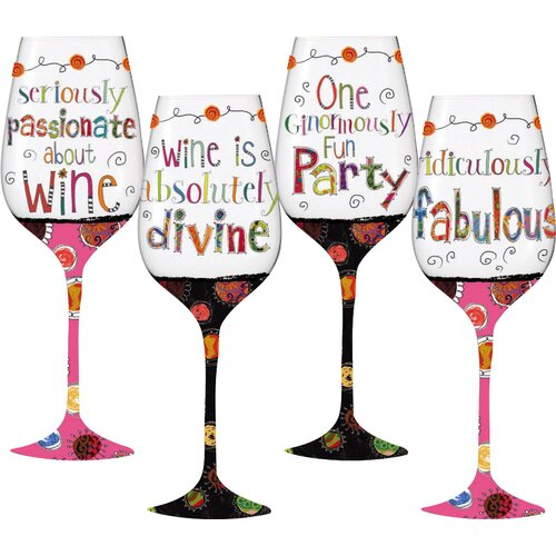 Wonderfully Quirky All Purpose Wine Glass (Set of 4)