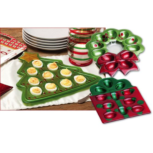 Happy Holidays Glass Tree and Wreath Deviled Egg Plates (Set of 3)