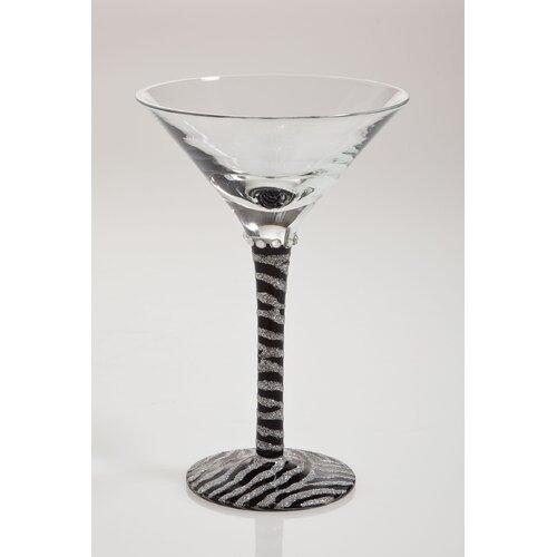 Zebra Handpainted Martini Glass