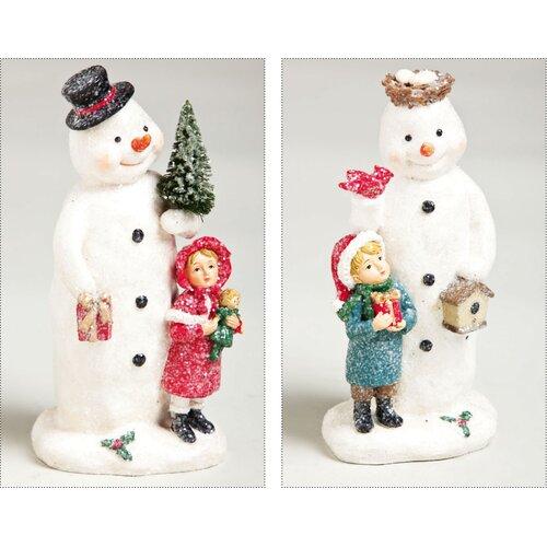 Vintage Santa Snowman Polystone Glitter Table Decor (Set of 2)