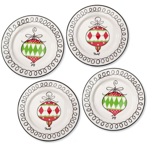 Cypress Home Holiday Festivities Hand Painted Ceramic Round Salad Platter