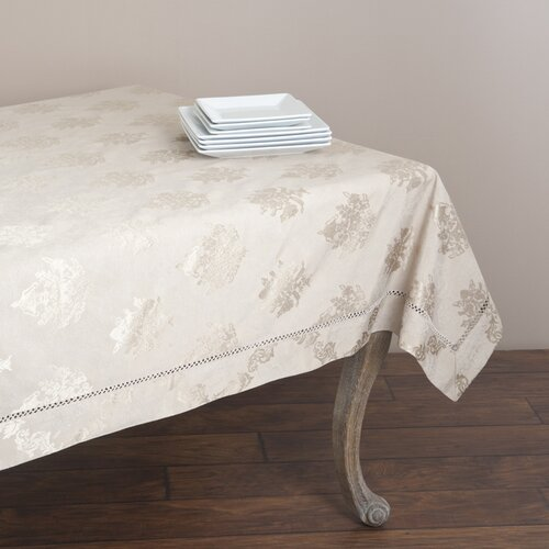 Saro Drawnwork Damask Table Cloth
