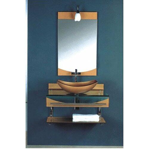 Kokols 31 single floating bathroom vessel vanity set for Floating pedestal sink