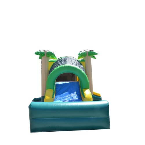 JumpOrange Tropical Mega Wet/Dry Commercial Grade Inflatable Bouncy House and Slide Combo