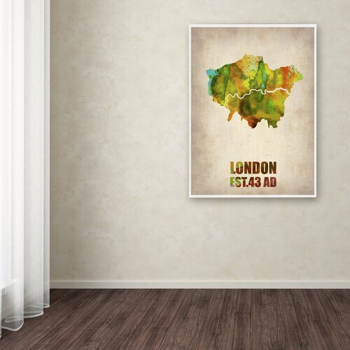 'London Watercolor Map' Canvas Art by Naxart