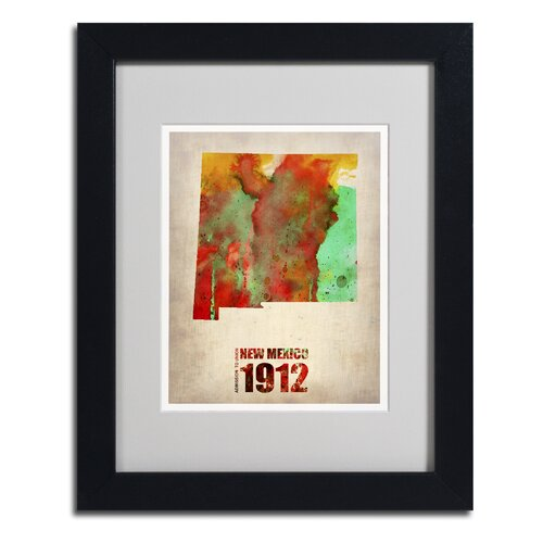 'New Mexico Watercolor Map' Matted Framed Art by Naxart