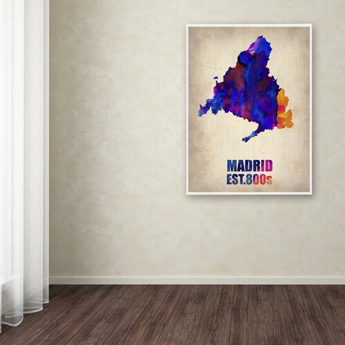 'Madrid Watercolor Map' Canvas Art by Naxart