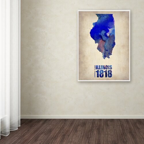 'Illinois Watercolor Map' Canvas Art by Naxart
