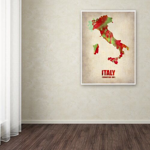 'Italy Watercolor Map' Canvas Art by Naxart