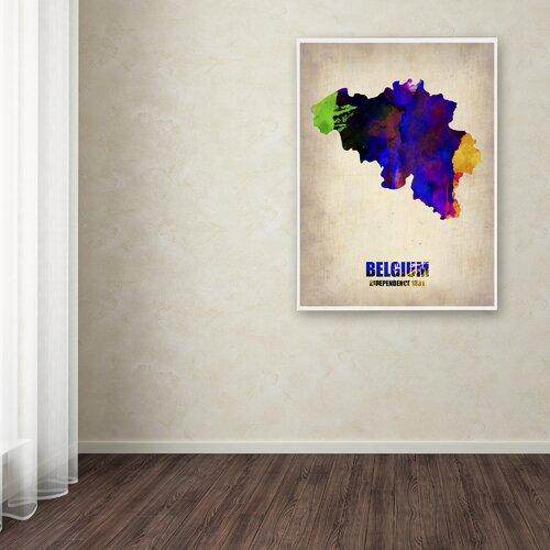'Belgium Watercolor Map' Canvas Art by Naxart