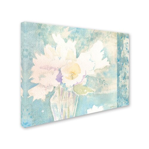 "Trademark Fine Art Sheila Golden ""White and Teal Composition"" Canvas Art"