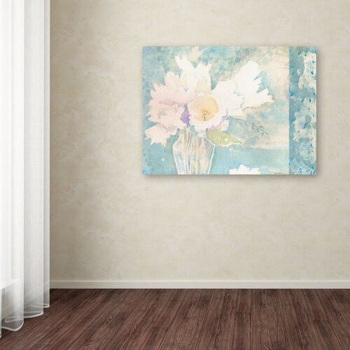 """Trademark Fine Art """"White and Teal Composition"""" by Sheila Golden Painting Print on Wrapped Canvas"""