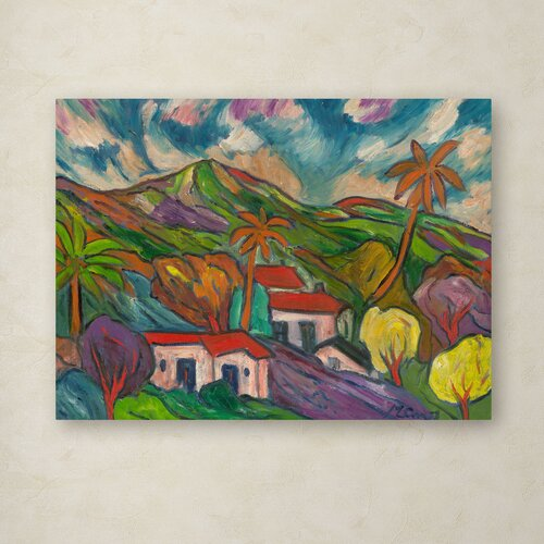Manor Shadian 'Tropical Valley with Three Palms' Canvas Art