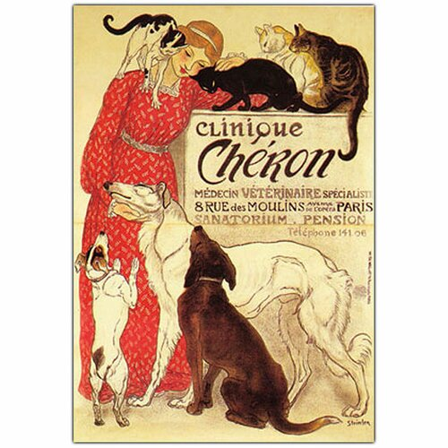 """Trademark Fine Art """"Clinique Cheron"""" by Theophile A. Steinlen Vintage Advertisement on Wrapped Canvas"""