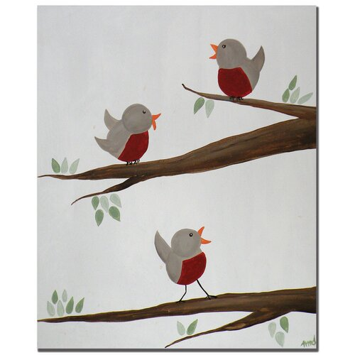'Red Robins II' by Nicole Dietz Painting Print on Canvas