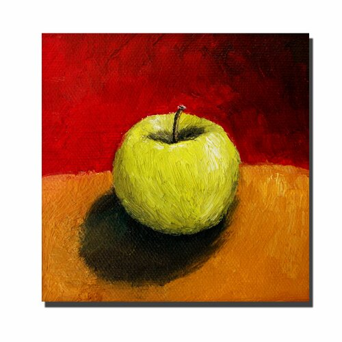 Trademark Fine Art 'Granny Smith with Gold and Red' by Michelle Calkins Painting Print on Canvas