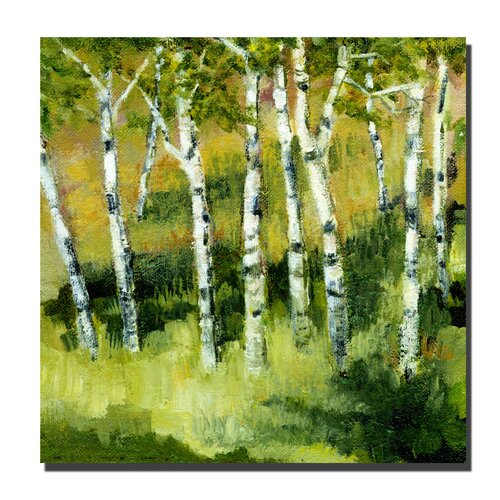 Trademark Fine Art 'Birch Trees' by Michelle Calkins Painting Print on Canvas