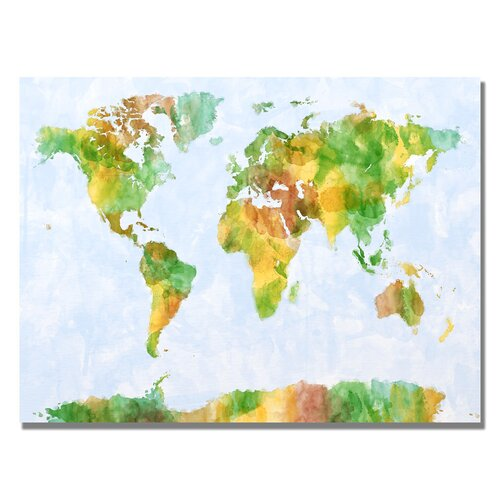 Trademark Fine Art 'Watercolor World Map III' by Michael Tompsett Graphic Art on Canvas